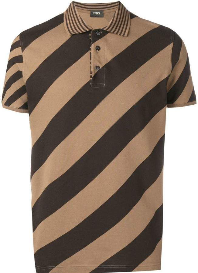 6847866a Fendi diagonal stripe print polo shirt in 2019 | Products | Printed ...