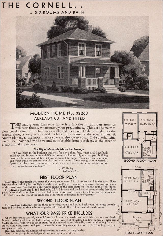 sears cornell house kit 1925 1938 six or seven rooms and one bath front porch with hipped. Black Bedroom Furniture Sets. Home Design Ideas