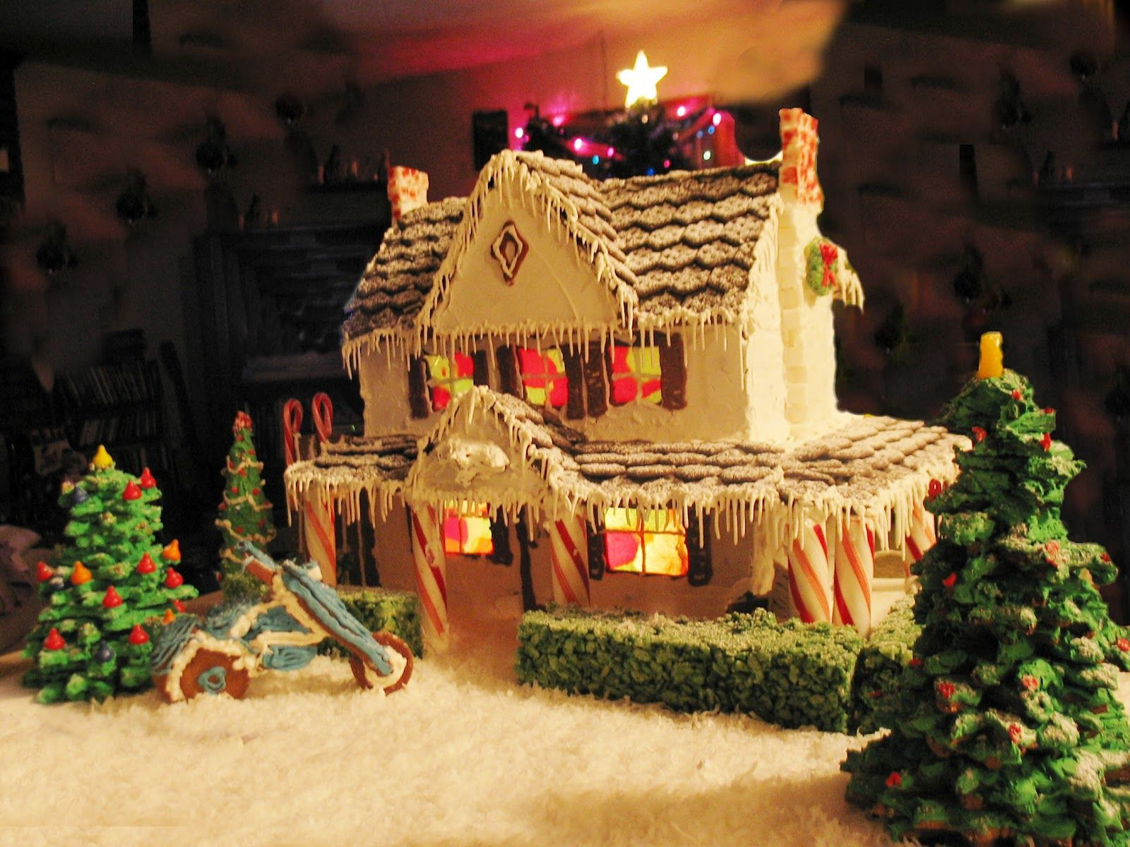 Cozy Gingerbread House With A Motorcycle By Mike Porteous