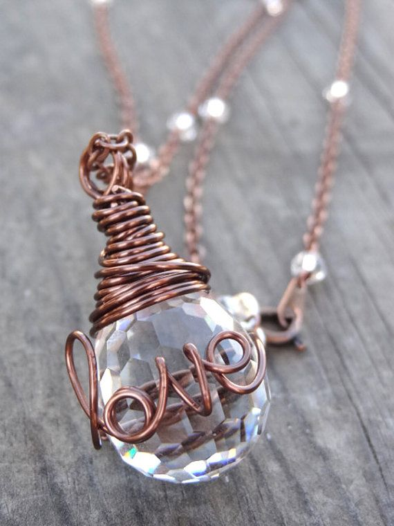 Copper LOVE Wire Wrap Crystal Ring Necklace Wire Writing Pendant ...