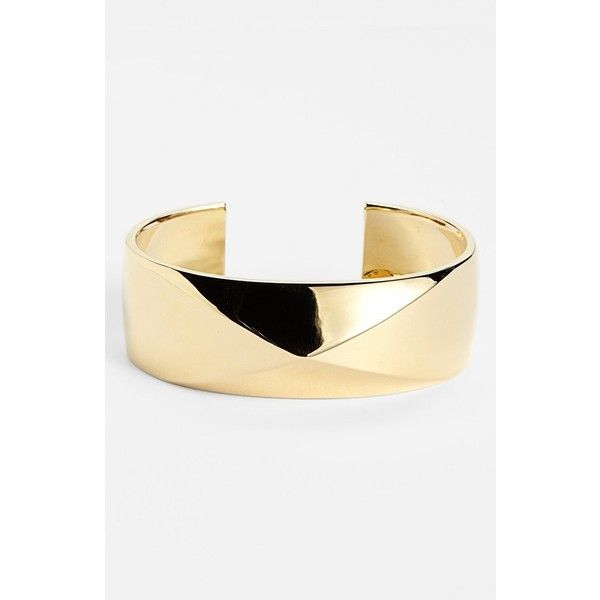 St. John Collection Pyramid Cuff Light Gold ($26) ❤ liked on Polyvore featuring light gold