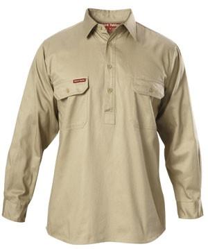 Hard Yakka Y07530 Cotton Drill Closed Front Shirt Long Sleeve Khaki Long Sleeve Shirts Shirts Khaki Shirt