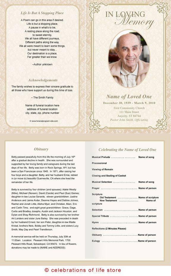 AO Single Fold Programs : AO Alexandria Letter Single Fold Funeral ...