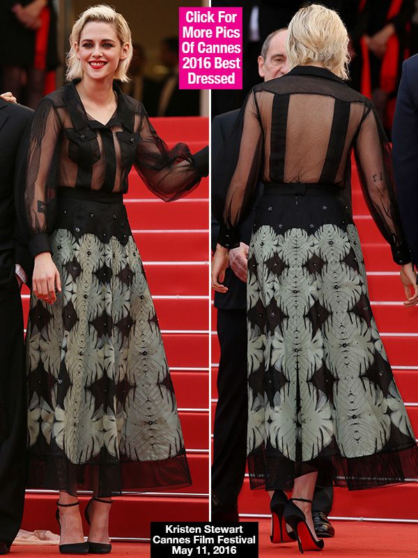 Kristen Stewart cannes 2016 | Kristen Stewart Braless At Cannes — See Her Sheer Blouse & Skirt ...