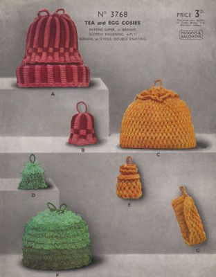 Knitting & Crochet Pattern Tea egg Cosy cosies vintage
