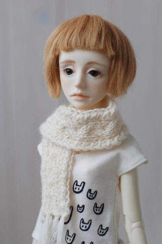 Photo of MSD White Aran Knitted Scarf  BJD Accessory