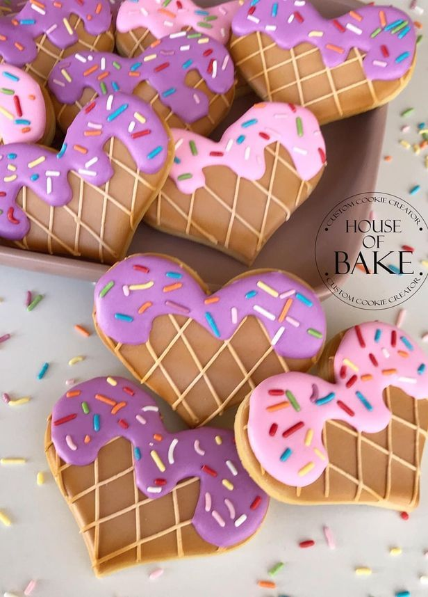 35+ Heart Shaped Valentine's Day Cookies Perfect For Your Love -  Ice Cream Heart Shaped Valentines Day Cookies | Image © House Of Bake_AU | If you're looking for - #cookies #Day #heart #love #perfect #royalicingcookiesrecipe #royalicingrecipeeasy #royalicingrecipeforgingerbreadhouse #royalicingrecipewitheggwhites #royalicingrecipewithoutmeringuepowder #shaped #valentine #Valentines