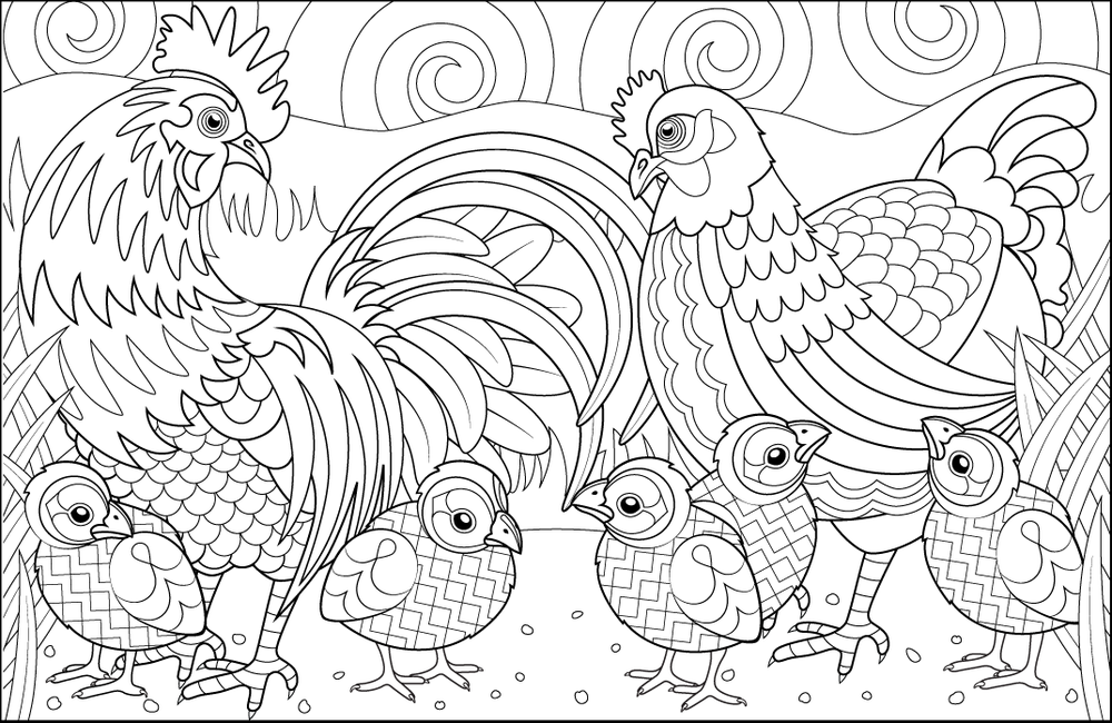 Chickens By Joanna Websterfrom The Amazing Creative Colouring Book Chickens Cockerel Hen Chicks Geometric Colourin Coloring Pages Coloring Books Color Me