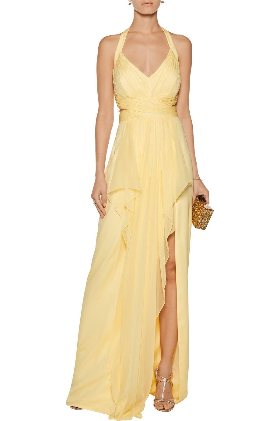 Shop on sale marchesa notte draped silk chiffon halterneck for Marchesa wedding dress sale
