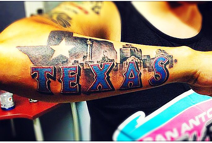 Best Texas tattoo ever! With the San Antonio skyline in the back ...