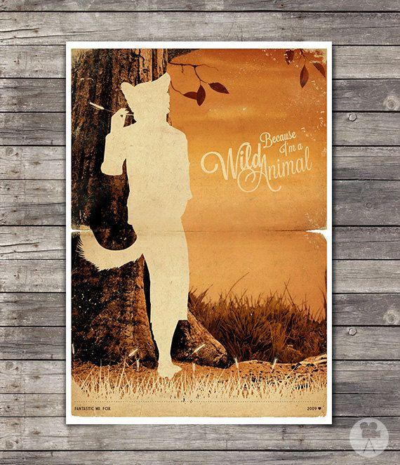Fox Art Print Wes Anderson Life Aquatic Blu Movie Poster Original Fantastic Mr