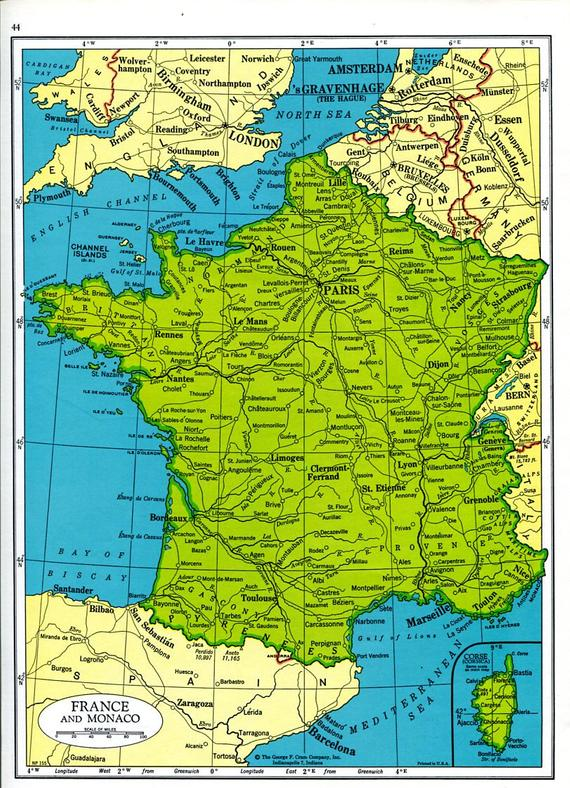 Map Of France And Luxembourg.France Map Netherlands Map 1960s Europe Cram Atlas Monaco Belgium