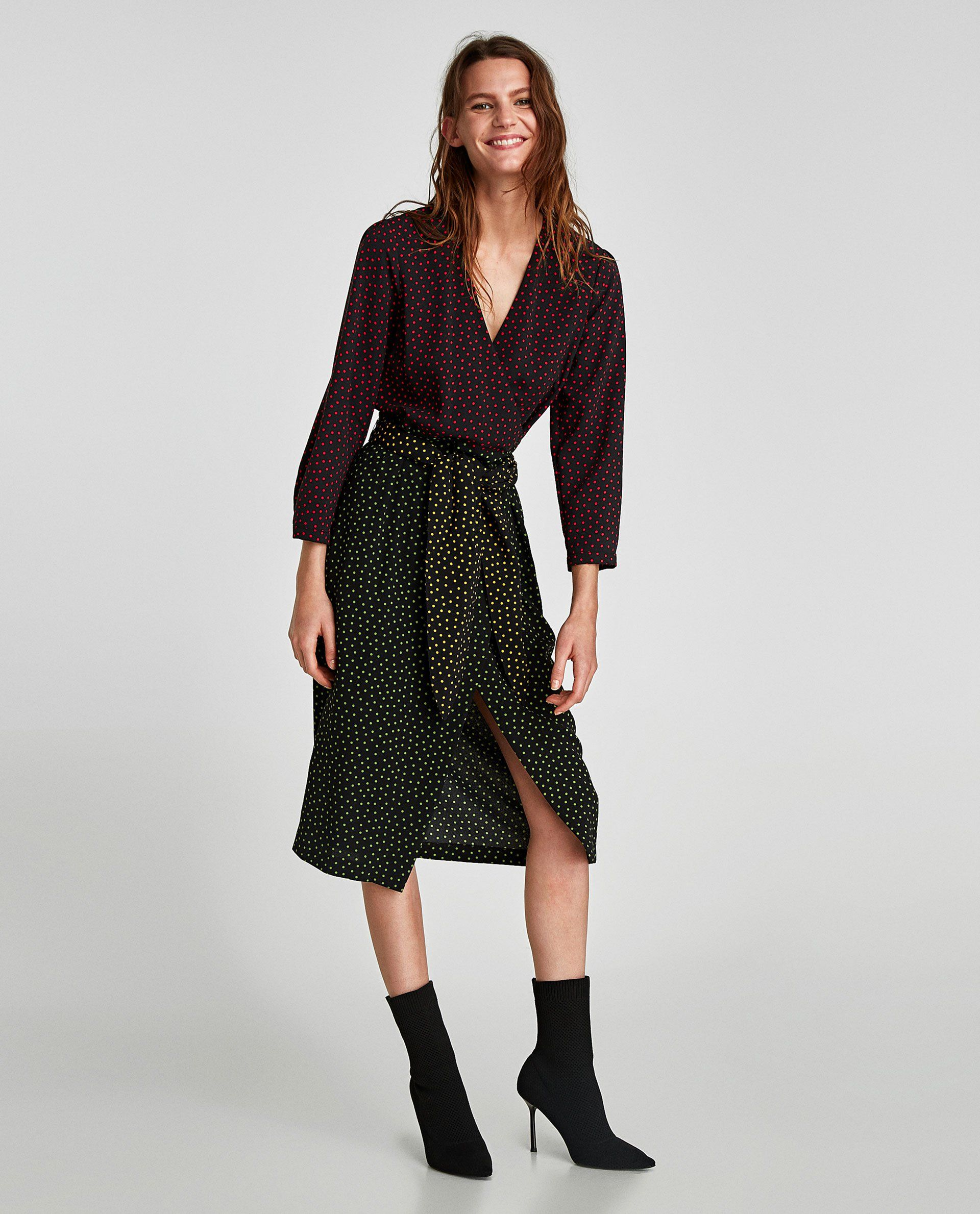 Zara Polka Dot Wrap Dress Dresses Tweed Mini Skirt Wrap Dress
