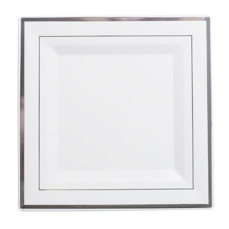 "10"" Square White Silver Rim Plastic Dinner Plates ..."