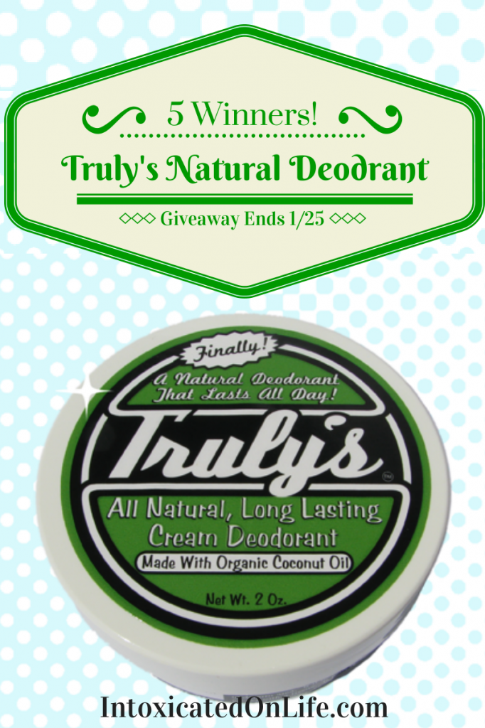 Enter to be 1 of 5 winners to try out Truly's Natural Deodorant! Ends 1/25/14