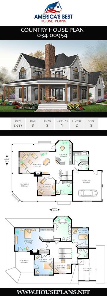 House Plan 034 00954 Country Plan 2 687 Square Feet 3 Bedrooms 2 5 Bathrooms Sims House Plans Country House Plan House Plans Farmhouse