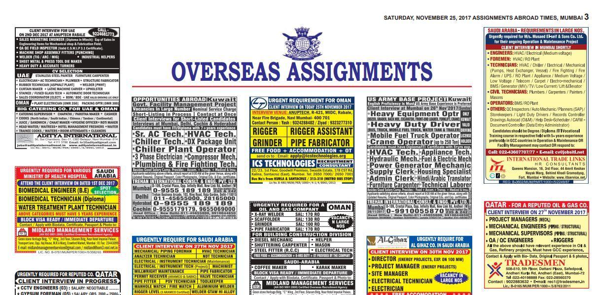 Urgent Job vacancy gulf, Dubai, Qatar, Saudi Arbia, Oman | gulfjobs