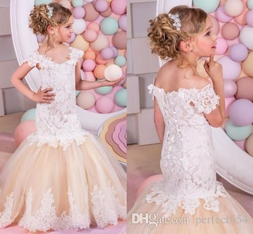 Mermaid Lace Flower Girl Dresses Baby Girl Birthday Party Christmas Communion