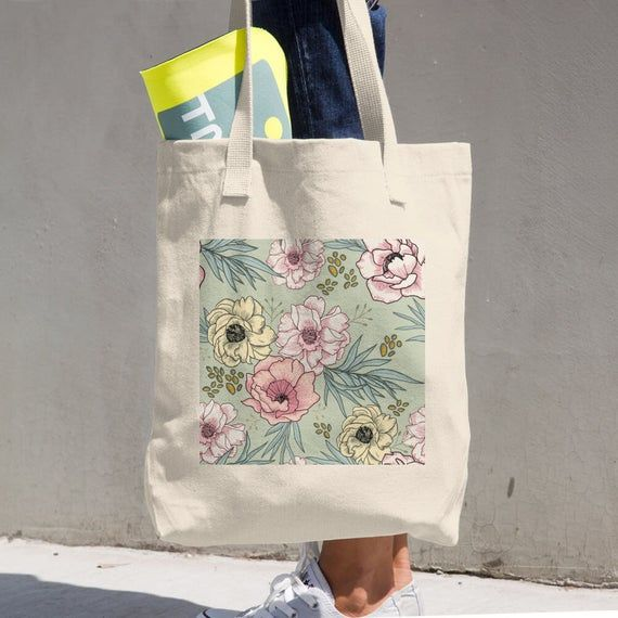 Vintage Flower Design Collection By Marla Cotton Tote Bag