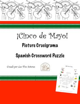 Cinco De Mayo Spanish Crossword Puzzle Crucigrama Vocabulary Words Picture Prompts Vocabulary List