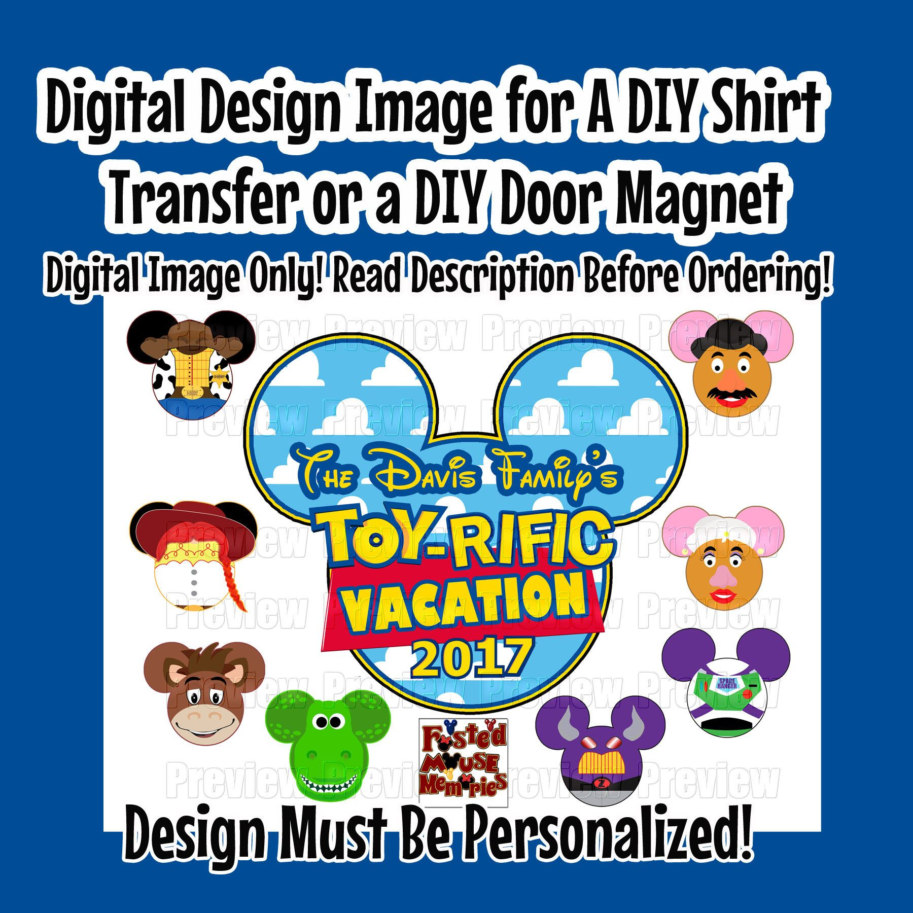 Printable Toy Story Family Shirt Mouse Heads Iron Transfer DIY Disney Shirts Personalized Vacation