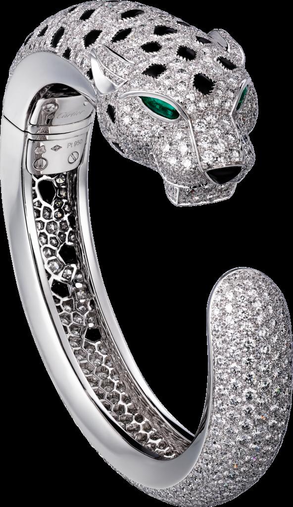 Panthère de Cartier bracelet: Panthère de Cartier bracelet, 950‰ platinum, set with 2 emerald eyes