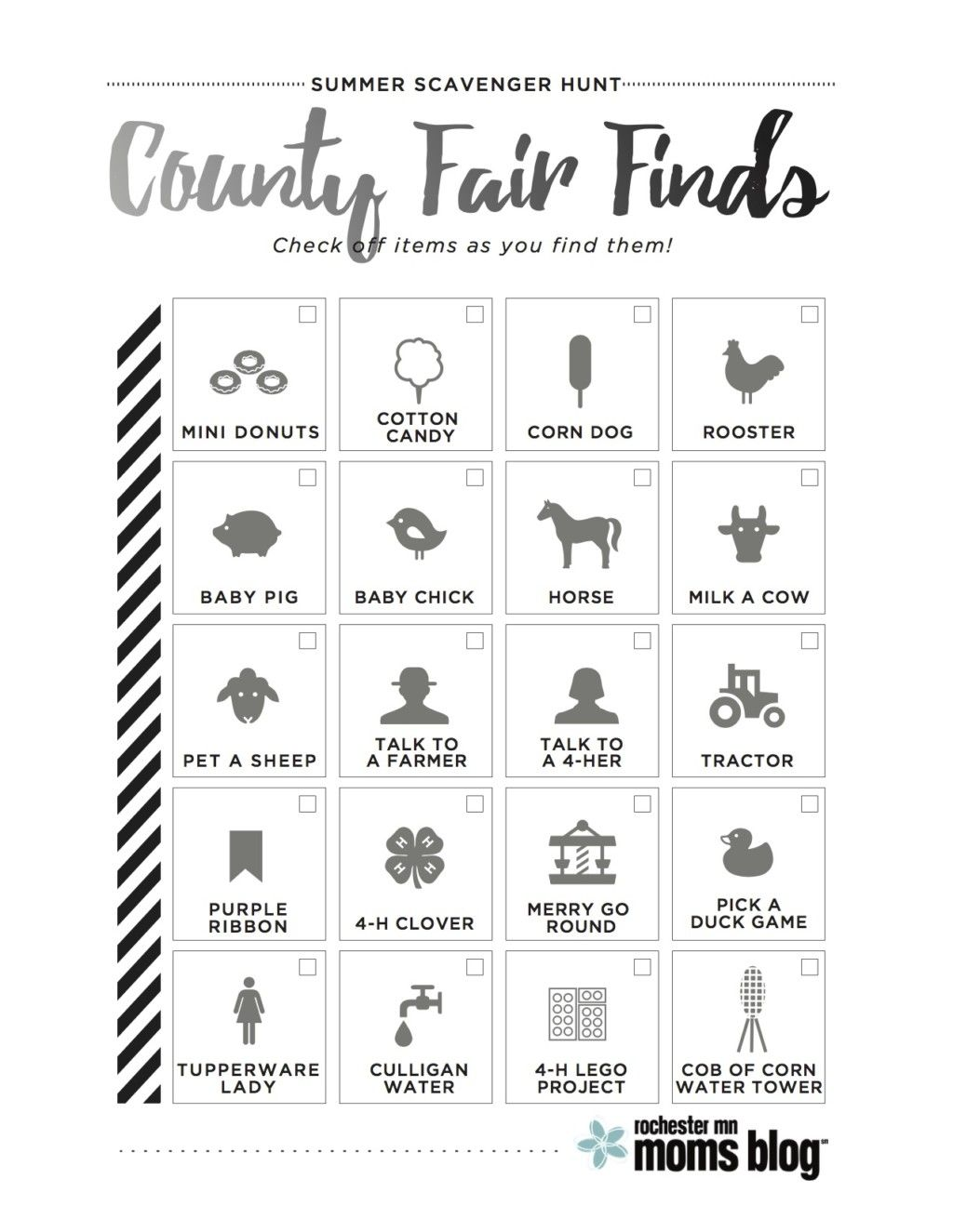 Olmsted County Fair Scavenger Hunt Free Printable