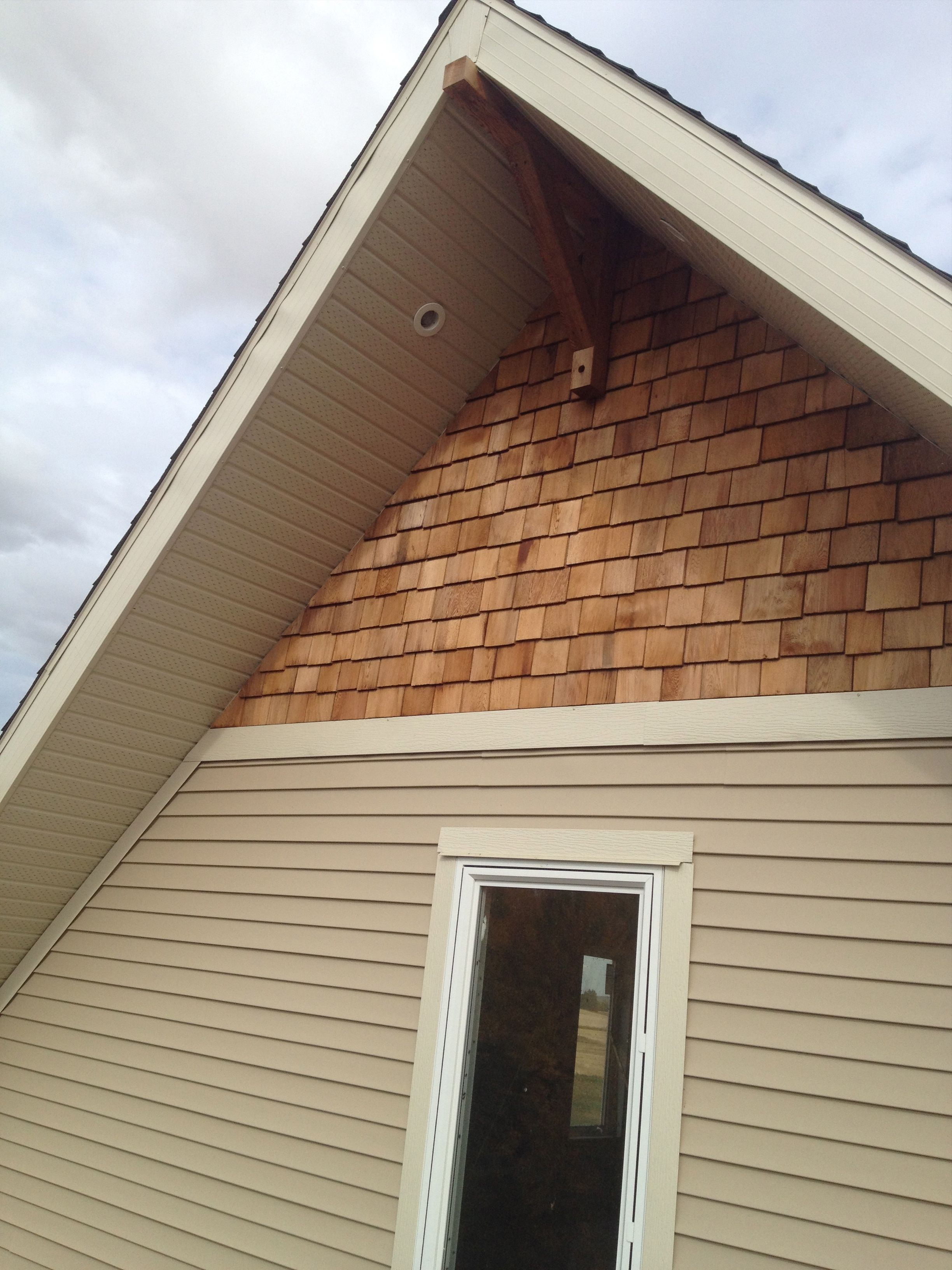 Closeup Of Gable End Two Soffit Lights Installed Towards