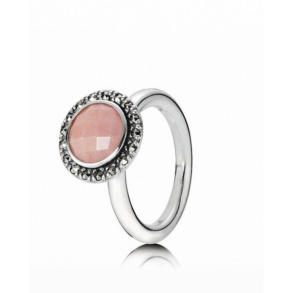 PANDORA Ring - Sterling Silver, Pink Opal & Marcasite Vintage ($115) found on Polyvore I WANT THIS!