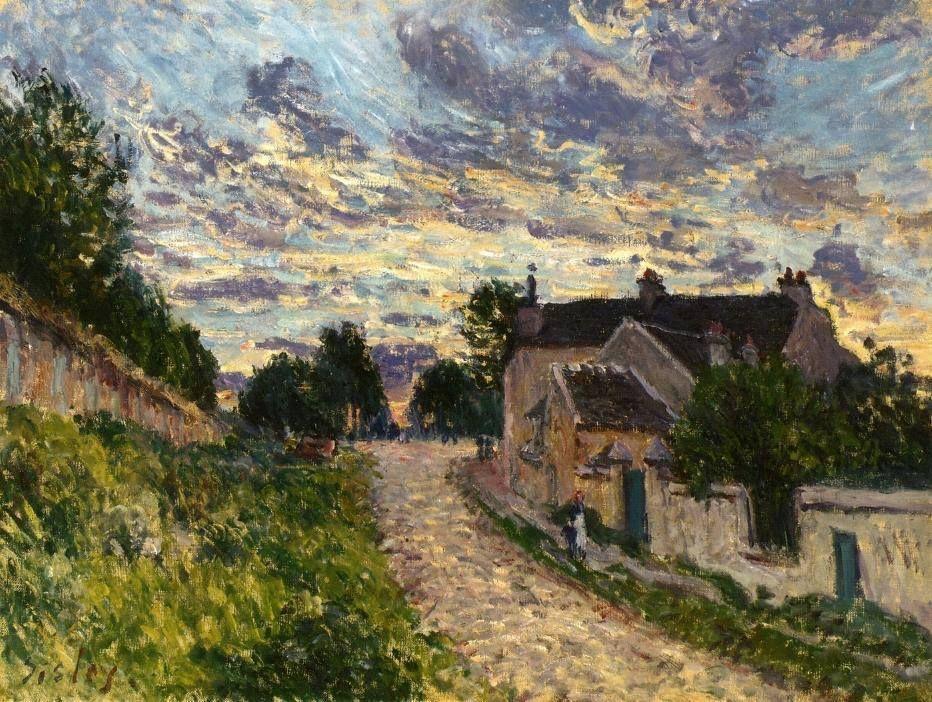 """Alfred Sisley (1839–1899]) """"A Path in Louveciennes (Le Couple - Environs de Louveciennes)"""" 1873"""