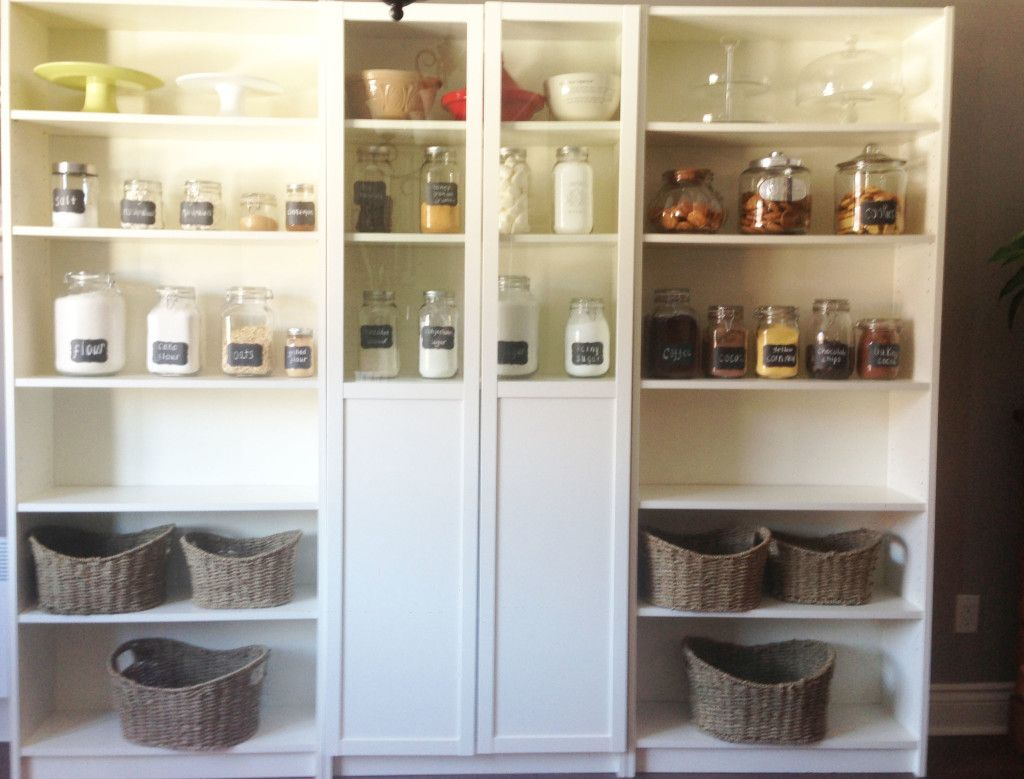 Beautiful Bookshelves With Baskets Part - 14: Billy Ikea Bookshelves: Organizing Pantry With Baskets And Glass Jars