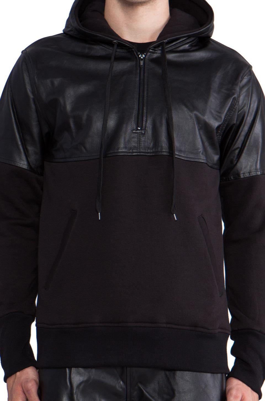 Iridium Leather Detailed Hoody en Noir