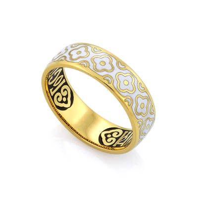 Кольцо православное с эмалью из серебра и молитвой 'Господи, спаси и сохрани мя' КПЭ002-15