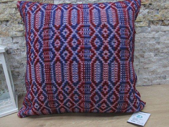 Purple Colored Patterned Kilim Pillow 20x20 Kilim Decorative Floor