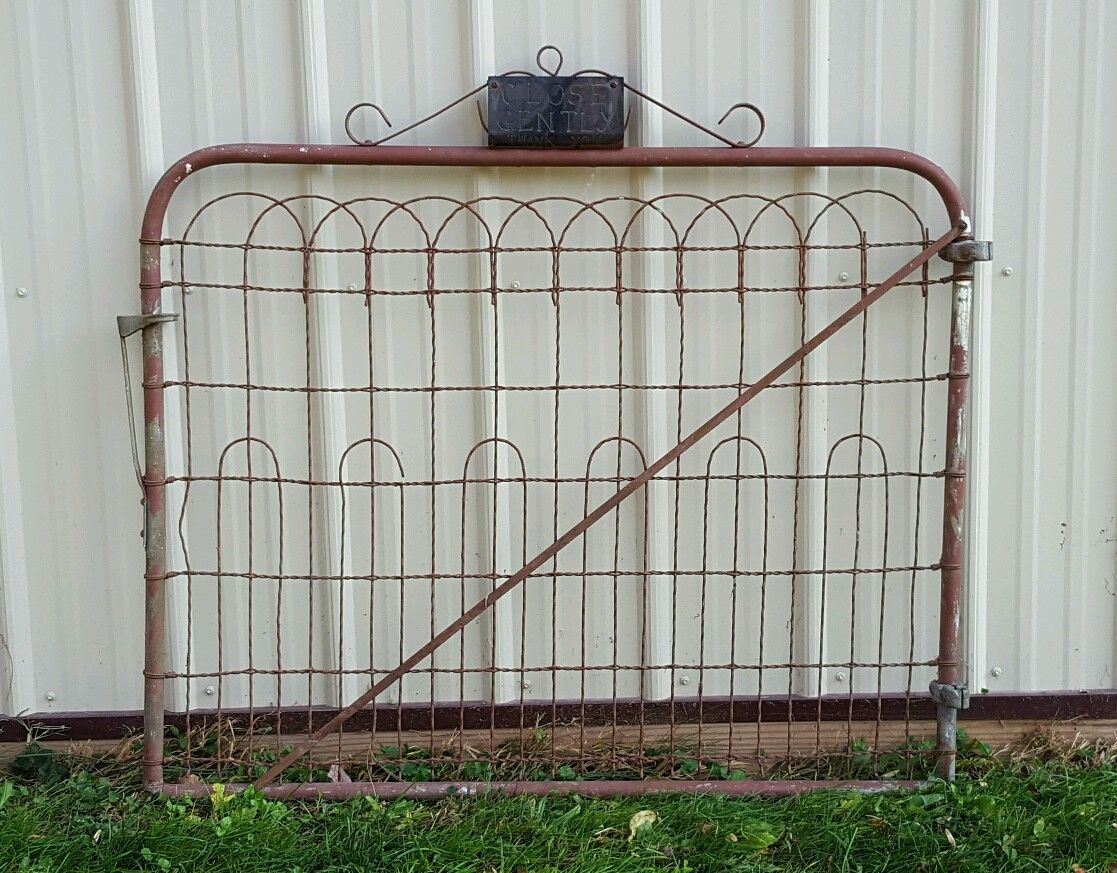 Vintage Antique Woven Wire Cottage Style Garden Yard Art Fence Gate ...