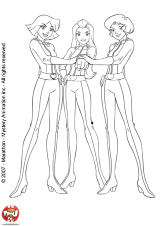 Coloriage A Imprimer Totally Spies.Coloriage Clover Sam Et Alex Totally Spies Totally