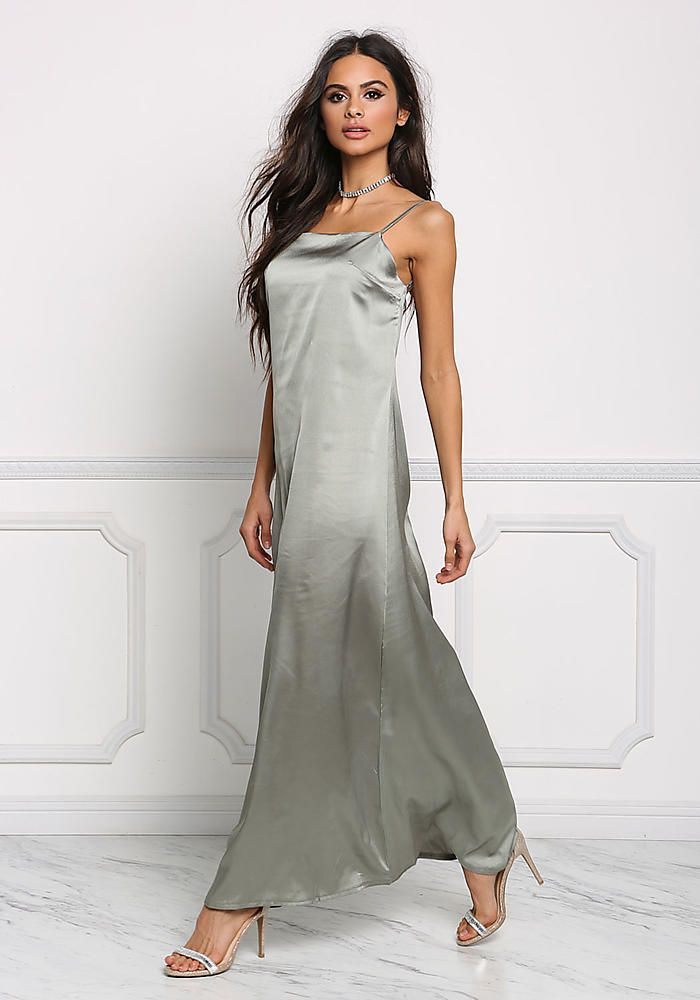 7bcab9c5a5c8 Sage Satin Low Back Slip Maxi Dress