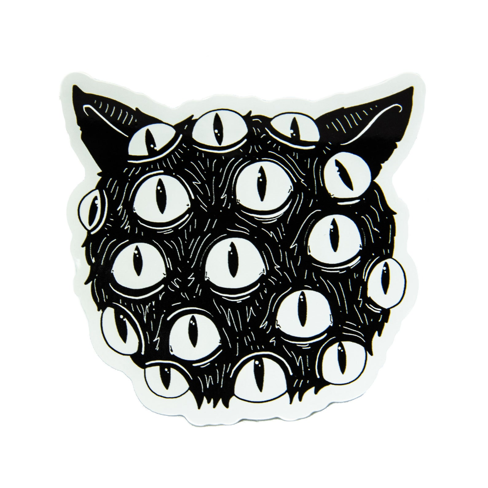 Horror Cat Vinyl Sticker With Eyes Black And White Spooky Etsy Eye Black Stickers Spooky Halloween Designs Creepy Eyes