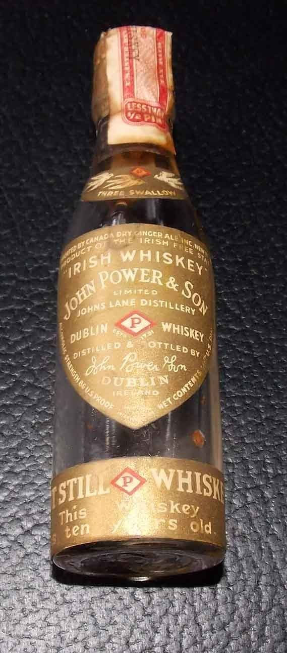 John Power Son Miniature Whiskey Bottle (Irish Whisky, Tax Stamp, Johns Lane Distillery, Dublin, Ireland Mini Liquor Bottles)