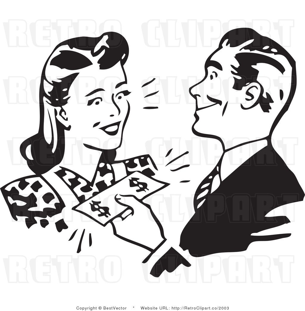 Retro Man Or Husband Giving Cash Money To A Woman Or Wife Clip Art Vintage Vintage Drawing Retro Illustration