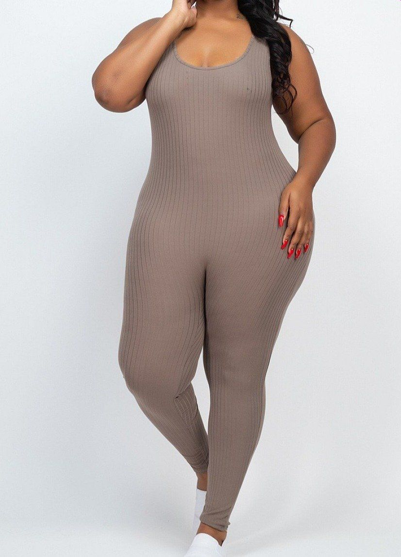Best 12 - Plus size scoop neck bodycon jumpsuit - 8X4 Ribbed knit - Sleeveless - Solid - 92% Polyester 8% Spandex