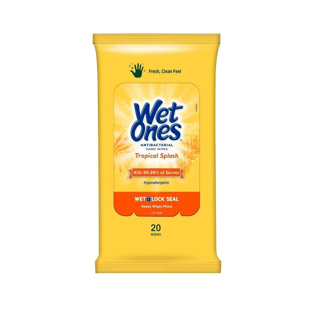 Wet Ones Antibacterial Hand Wipes Travel Pack Tropical Splash