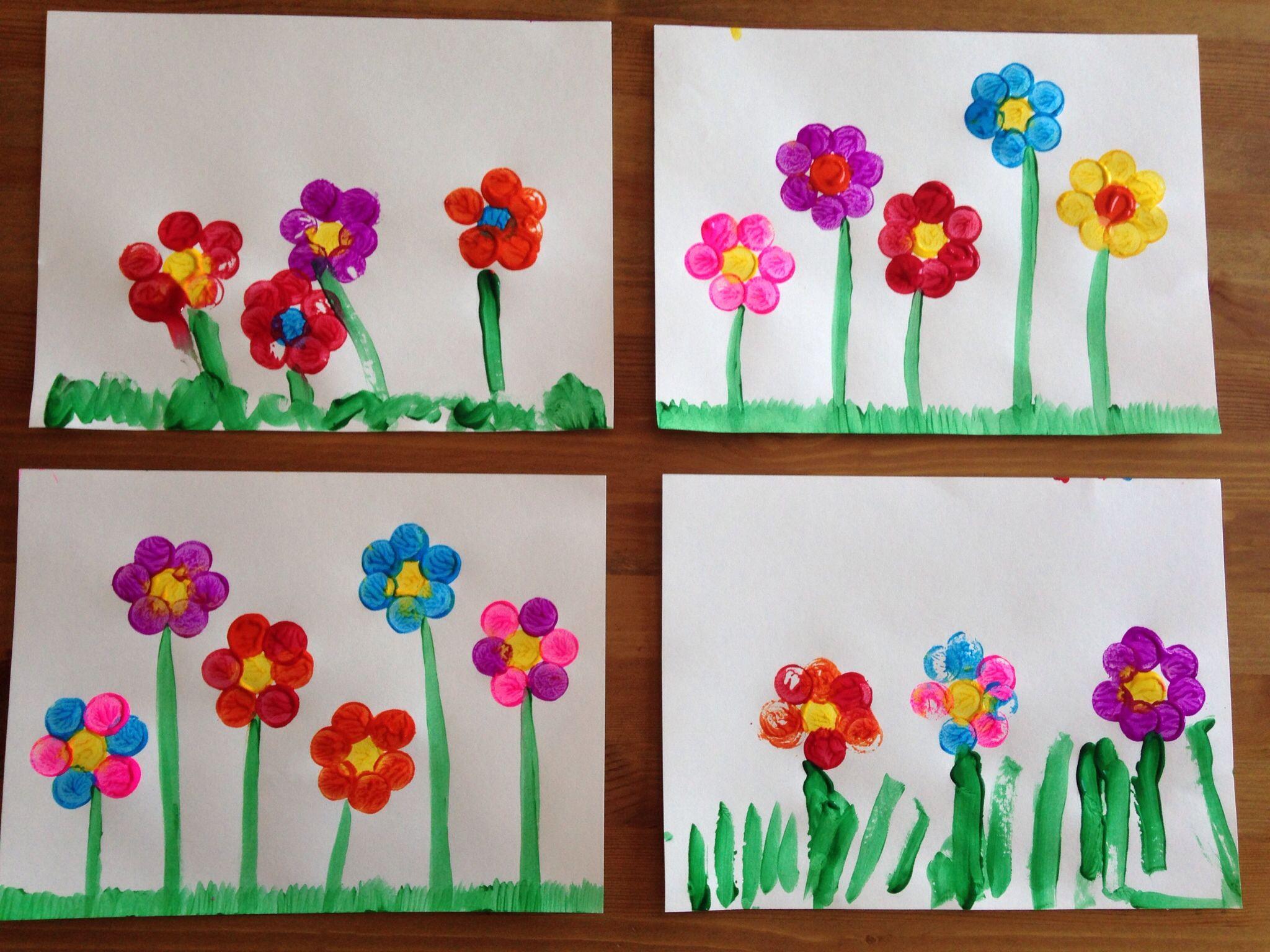 Cork flower painting spring craft preschool craft