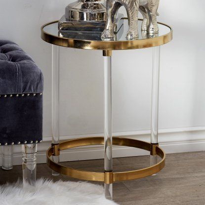 DecMode Modern Round Iron and Acrylic Accent Table ...