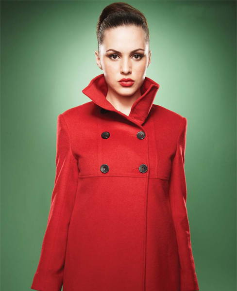 Red Empire Waist Pea Coat - with small gathers at the waist, like the  pattern, black buttons