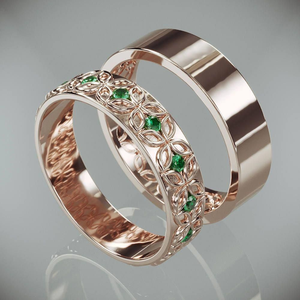14k rose gold celtic flower wedding rings set with
