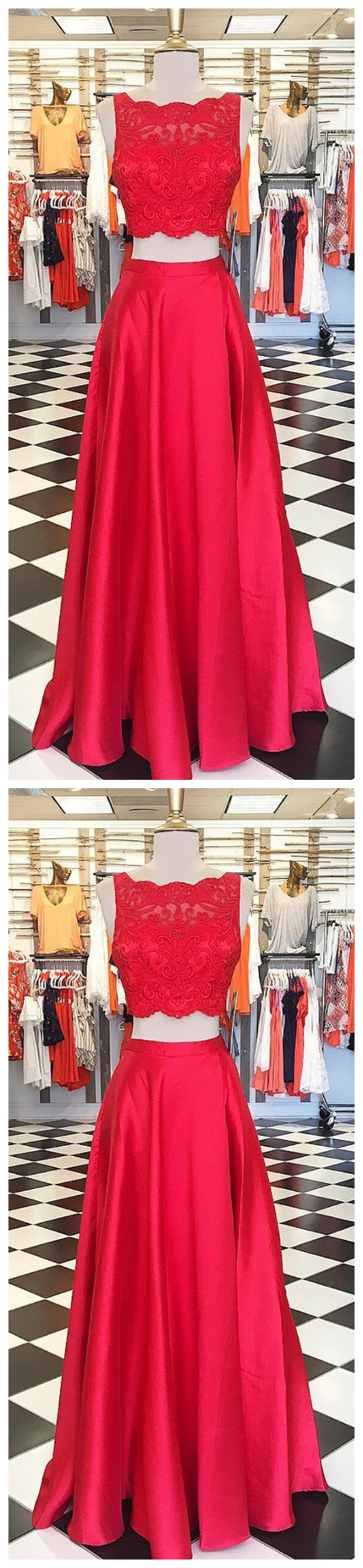 Red Two Piece Prom Dresses,Satin Evening Dress,Modest Prom Dress #modestprom