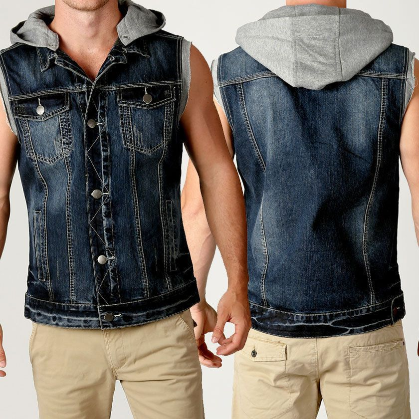 Mens Deacon TEX Sleeveless DENIM Hoody JACKET Blue RAW EDGE vest ...