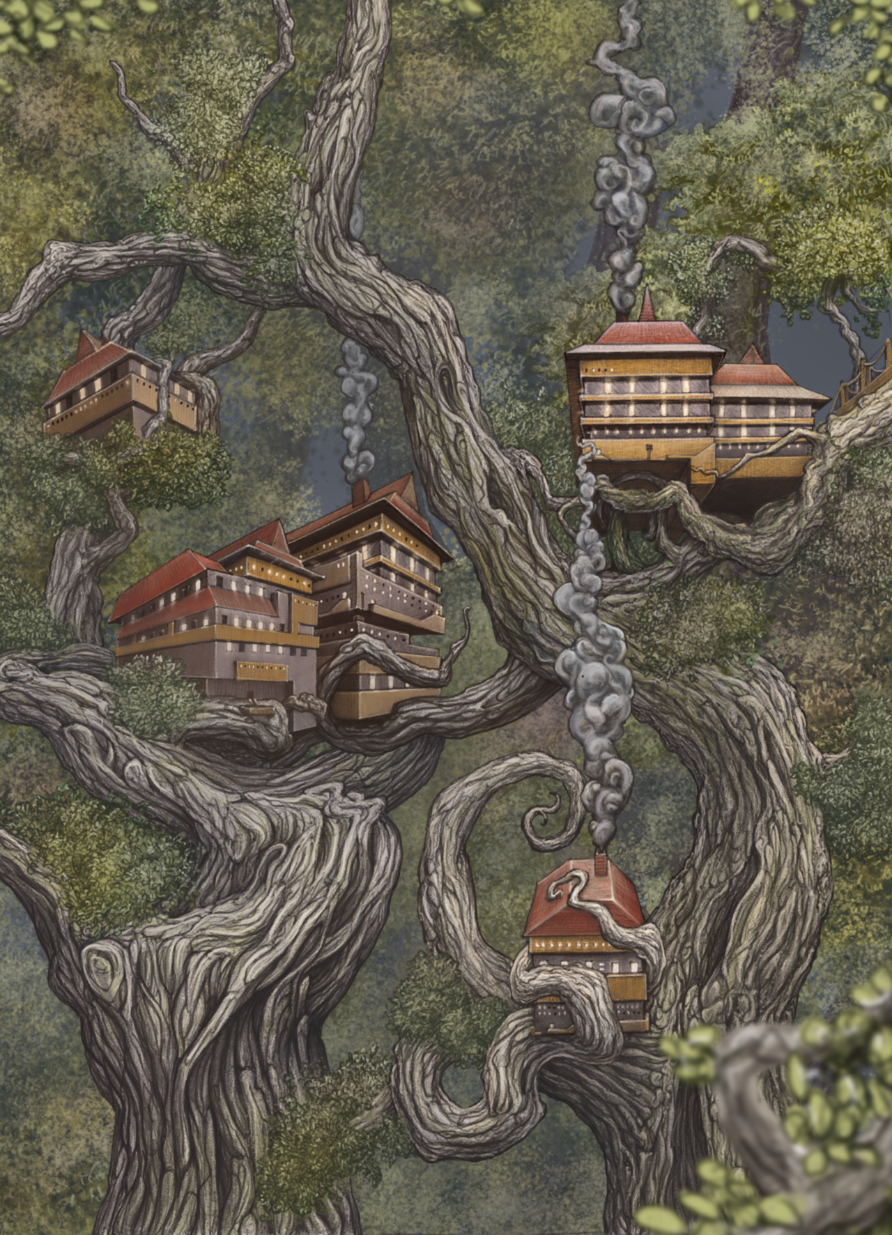 Mansion Drawing: Tree House Drawing, Fantasy Tree