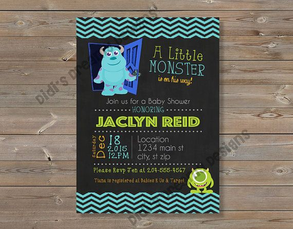 monsters inc baby shower invitation thank you card diaper raffle tickets disney inspired digital file or printed option
